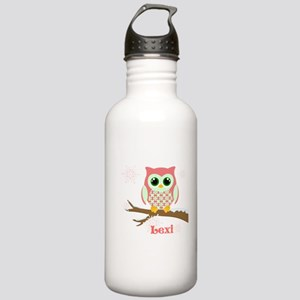 Custom name winter owl girl Stainless Water Bottle
