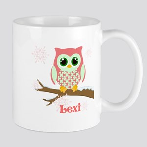 Custom name winter owl girl Mug
