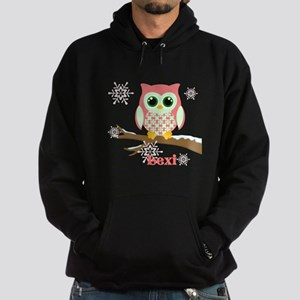 Custom name winter owl girl Hoodie (dark)