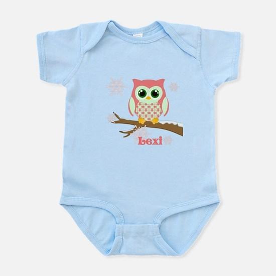 Custom name winter owl girl Infant Bodysuit