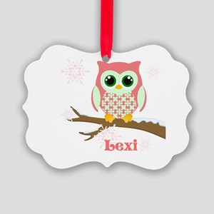 Custom name winter owl girl Picture Ornament