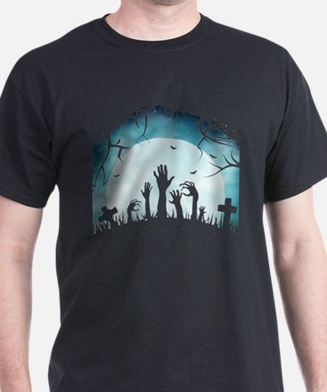 Scary Spooky Halloween Graveyard Hands T-Shirt