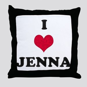 I Love Jenna Throw Pillow