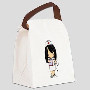 Cute Sunkissed Nurse Girl with narrow skirt Canvas