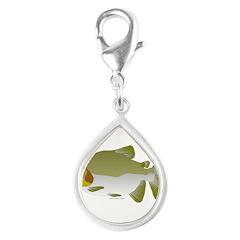 Pacu fish Silver Teardrop Charm