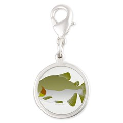 Pacu fish Silver Round Charm