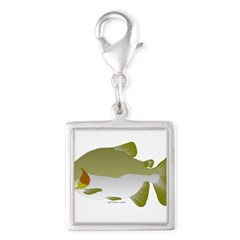 Pacu fish Silver Square Charm