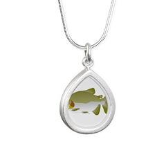 Pacu fish Silver Teardrop Necklace