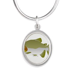 Pacu fish Silver Oval Necklace