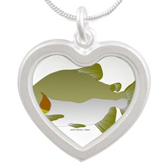 Pacu fish Silver Heart Necklace