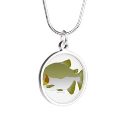 Pacu fish Silver Round Necklace