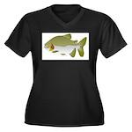 Pacu fish Women's Plus Size V-Neck Dark T-Shirt