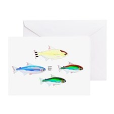Four Tetras (Amazon River tropical fish) Greeting