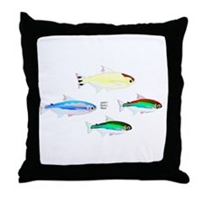Four Tetras (Amazon River tropical fish) Throw Pil