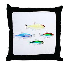 Four Tetras (Amazon River tropical fish) Throw Pil