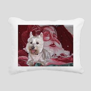 Santa Westie Rectangular Canvas Pillow
