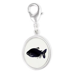 Black Pacu fish tropical Amazon Silver Oval Charm