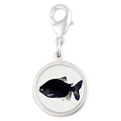 Black Pacu fish tropical Amazon Silver Round Charm