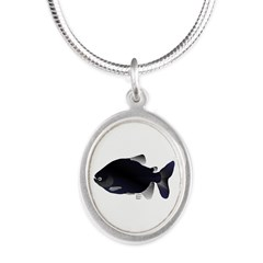 Black Pacu fish tropical Amazon Silver Oval Neckla