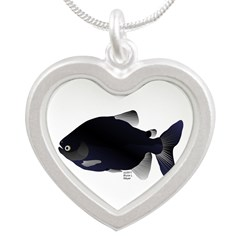 Black Pacu fish tropical Amazon Silver Heart Neckl