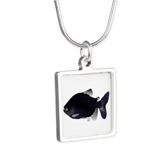 Black Pacu fish tropical Amazon Silver Square Neck