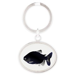 Black Pacu fish tropical Amazon Oval Keychain