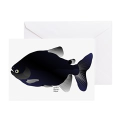 Black Pacu fish tropical Amazon Greeting Cards (Pk