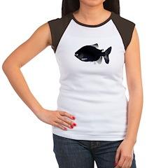 Black Pacu fish tropical Amazon Women's Cap Sleeve