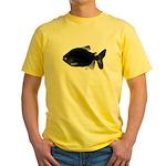 Black Pacu fish tropical Amazon Yellow T-Shirt