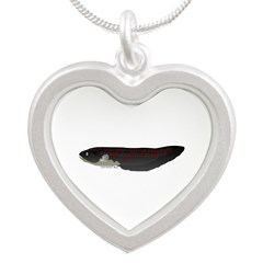 Electric Eel (Knifefish fish) Silver Heart Necklac