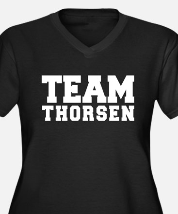 TEAM THORSEN Women's Plus Size V-Neck Dark T-Shirt