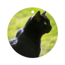 Black Cat profile Ornament (Round)