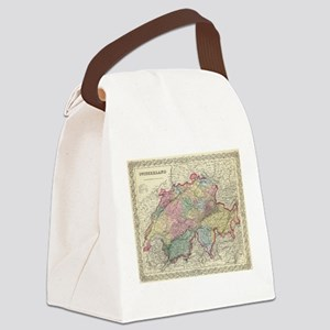 Vintage Map of Switzerland (1856) Canvas Lunch Bag