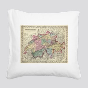 Vintage Map of Switzerland (1 Square Canvas Pillow