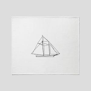 Schooner Sailboat Logo Throw Blanket