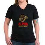 Alpha Come At Me Bro Women's V-Neck Dark T-Shirt