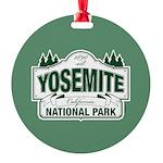 Yosemite Green Sign Round Ornament