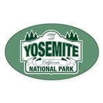 Yosemite Green Sign Sticker (Oval 50 pk)