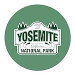 Yosemite Green Sign Round Car Magnet