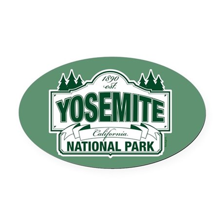 Yosemite Green Sign Oval Car Magnet