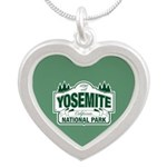 Yosemite Green Sign Silver Heart Necklace