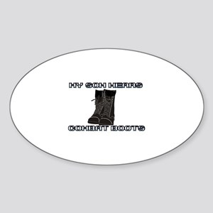 My Son Wears Combat Boots... Oval Sticker