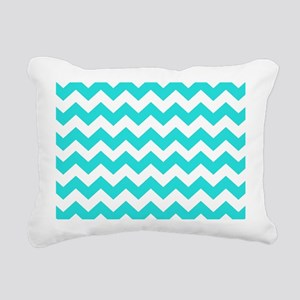 Teal Chevron Stripes Rectangular Canvas Pillow