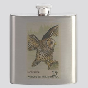 1978 United States Barred Owl Postage Stamp Flask