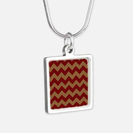 Red and Brown Chevron Silver Square Necklace