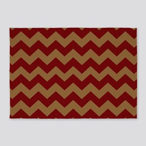 Red and Brown Chevron 5'x7'Area Rug