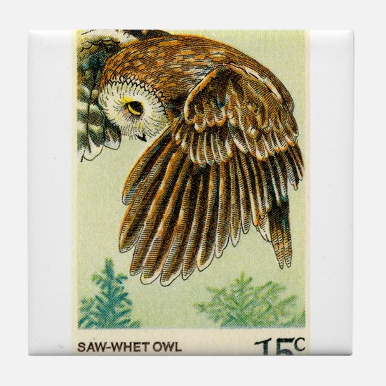 1978 United States Saw whet Owl Postage Stamp Tile