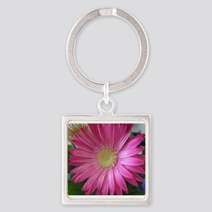 Pink Daisy Princess Square Keychain