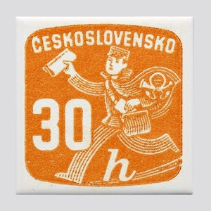 1945 Czechoslovakia Newspaper Newsboy Stamp Tile C