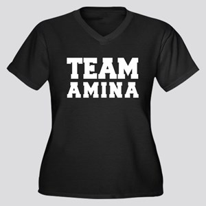 TEAM AMINA Women's Plus Size V-Neck Dark T-Shirt